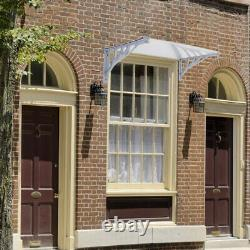 Awning Rain Shelter Front Door Canopy Porch Outdoor Shade Patio Roof Black/Grey