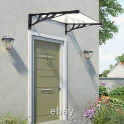 Black/Grey Outdoor Front Door Canopy Porch Shade Patio Roof Awning Rain Shelter