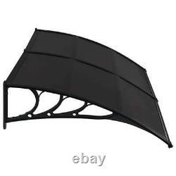 Door Canopy 200x100cm PC Black Window Rain Porch Shade Awning Shelter UK