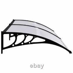 Door Canopy Black and Transparent 240x80 cm PC Porch Windows Shade Patio Roof