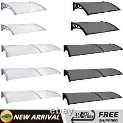 Door Canopy Exquisite Black/Grey PC Porch Awning Rain Shelter Roof Shade Cover