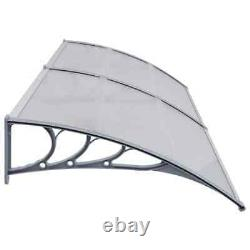 Door Canopy Grey 240x100cm Plastic Rain Porch Shade Awning Shelter I1S5