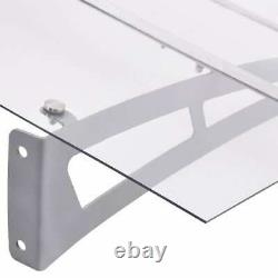 Door Canopy Silver and Transparent Awning Porch Shelter Outdoor Patio Cover PET