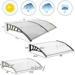 Durable Door Canopy Outdoor Front Back Roof Awning Patio Porch Shade Rain Cover