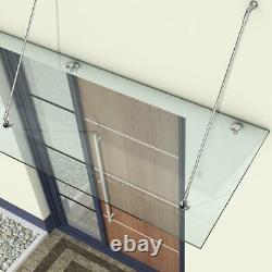 Durovin Porch or Patio 13mm Clear Glass Door Canopy with Stainless Steel Fitting