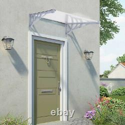 Front Door Awning Rain Shelter Canopy Porch Outdoor Shade Patio Roof Black/Grey