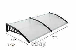 Front Door Canopy Porch Rain Protector Awning Lean-To Roof Shelter 90 X 300cm