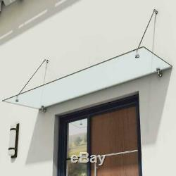 Glass Canopy Rain Shelter Front Back Door Porch 1600mm Stainless Steel 13mm