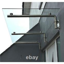 Glass Door Canopy Porch Stainless Steel Balcony Over Door Shelter Awning 1200mm