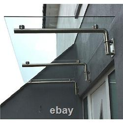 Glass Door Canopy Porch Stainless Steel Balcony Shelter Awning Cover 1800mm Wide
