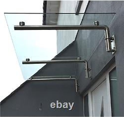 Glass Door Canopy Shelter 1440 x 800mm Porch Awning Rain Cover Patio Front Back