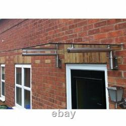 Glass Over Door Canopy Porch Rain Shelter Sun Shade Stainless Steel Brackets