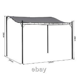 Outsunny 3 x 3m Canopy Metal Wall Gazebo Awning Marquee Shelter Door Porch- Grey