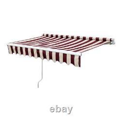 Red Stripe Retractable Door Canopy Window Front Porch Overhead Roof Cover Manual