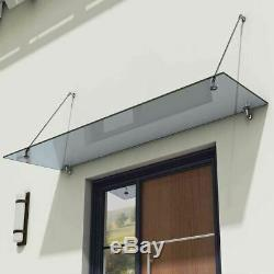 Tinted Grey Glass Canopy Rain Shelter Porch Awning Lean to Sun Shade Cover