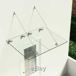 VSG Safety Glass Canopy Front Door 120x90cm Porch Awning Rain Shelter