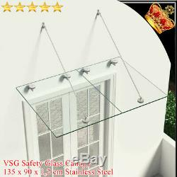 VSG Safety tempered Glass Canopy Front Door 135x90cm Porch Awning Rain Shelter