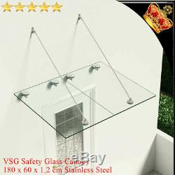 VSG Safety tempered Glass Canopy Front Door 180x60cm Porch Awning Rain Shelter