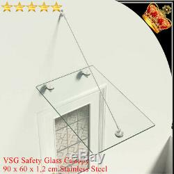 VSG Safety tempered Glass Canopy Front Door 90x60cm Awning Rain Shelter Porch