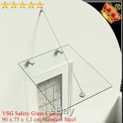 VSG Safety tempered Glass Canopy Front Door 90x75cm Awning Rain Shelter Porch