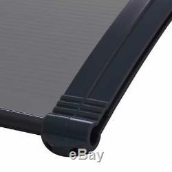 VidaXL Door Canopy Black 150cm PC Porch Awning Rain Shelter Roof Shade Cover