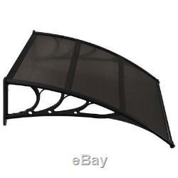 VidaXL Door Canopy Black 150x100cm Plastic Rain Porch Shade Awning Shelter