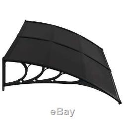 VidaXL Door Canopy Black 200x100cm Plastic Rain Porch Shade Awning Shelter