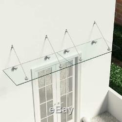 VidaXL VSG Safety Glass Canopy Front Door 240x60cm Porch Awning Rain Shelter