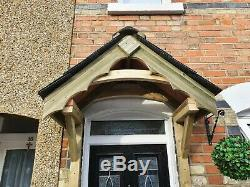 Wooden Cottage Style Front Door Canopy Porch / Slate Tiled Front Door Canopy