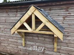 Wooden Front Door Canopy Porch / Slate Tiled Front Door Canopy