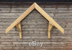 Wooden Porch IROKO Hardwood Glass Section Front Door Canopy PITCHED PORCH